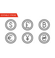 money sign icons set thin line vector image vector image