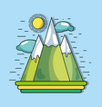mountains with sun and clouds to environment vector image