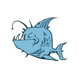 psycho fish piranha animal cartoon character vector image
