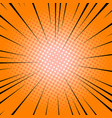 radial lines orange comic book speed explosion vector image
