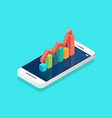 red arrow growth with bar chart on the smartphone vector image
