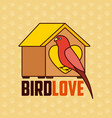 red parrot with wooden house pet vector image