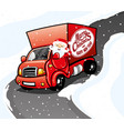 santa claus in a red truck vector image vector image