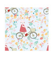 seamless pattern rabbit bunny ride bicycle in vector image