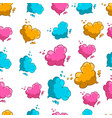 seamless pattern with cute cartoon heart clouds vector image vector image