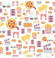 seamless pattern with retro cinema icons vector image vector image