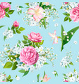 seamless pattern with rose flowers vector image vector image