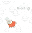 Seasons greetings Winter card with sheep in vector image