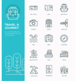 set modern line icon design concept travel vector image
