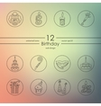 Set of birthday icons vector image vector image