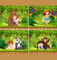 set of children with animals scene vector image vector image
