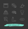 set of food icons line style symbols with coffee vector image