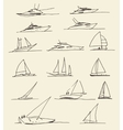 Set of hand drawn boats vector image