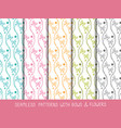 set of seamless bows and flowers patterns vector image