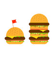 small burger and big beefburger vector image