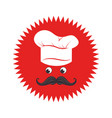 stamp with face chef and hat vector image vector image
