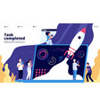 startup concept people launch spaceship rocket vector image