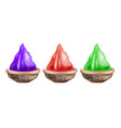 three clay pots with paint isolated on white to vector image
