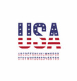 usa national flag style font vector image