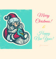 vintage card with santa vector image vector image