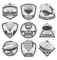 vintage monochrome airship labels set vector image vector image