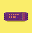 violet ticket icon with shadow on yellow vector image vector image
