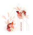 watercolor floral wedding frame pampas vector image