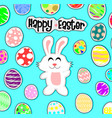 white rabbit and egg on blue back groundhappy vector image