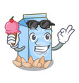 with ice cream almond milk isolated in the mascot vector image vector image