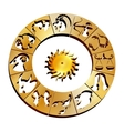 Zodiac signs on a gold disk IO vector image