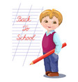 back to school banner card flyer with schoolboy vector image