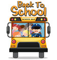 back to school theme with kids on school bus vector image