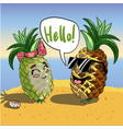background with funny pineapples in glasses vector image