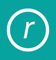 basic font letter r icon design vector image