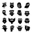 black and white owl silhouettes set vector image vector image
