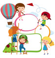 border template kids drawing and painting vector image vector image