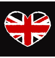 British flag t shirt heart vector image vector image