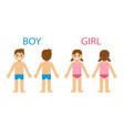 cartoon boy and girl front and back vector image vector image