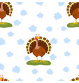 cartoon funny turkey pattern vector image vector image