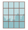 cityscape from window glazed opening in wall vector image vector image