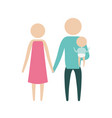 color silhouette pictogram parents with a little vector image vector image
