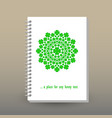 cover of diary notebook green cloverleaf mandala vector image vector image