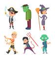 cute and scary halloween cartoon costume for kids vector image vector image