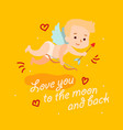 cute angel cupid flies with bow and arrow vector image