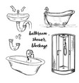 doodle bath and shower vector image vector image