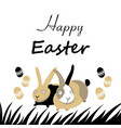 easter card with rabbits and eggs vector image