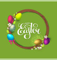 easter wreath with spring branches flowers vector image vector image