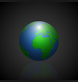 globe icon with green shadow continents and vector image vector image