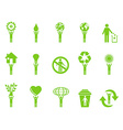 green eco icons stick figures series vector image