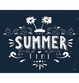 Hand drawn vintage print with an island palm trees vector image
